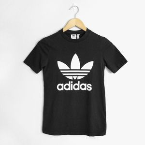 adidas Tops - ADIDAS Black White Fitted Trefoil Logo T-Shirt